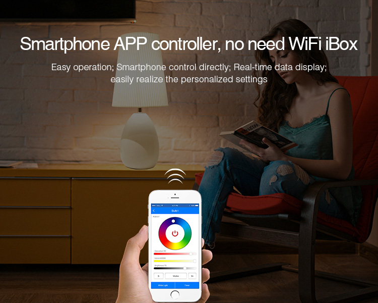 smartphone app controller no wifi box needed MiLight smart bulb voice controlled
