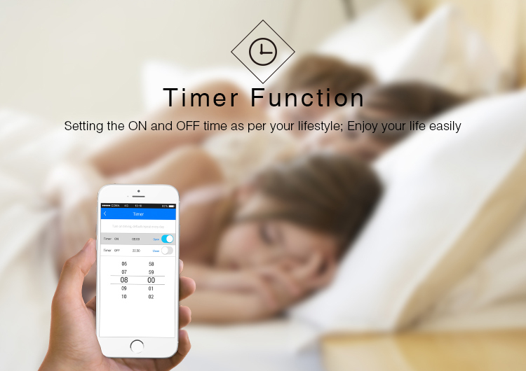 timer function set the light on and off whenever you want