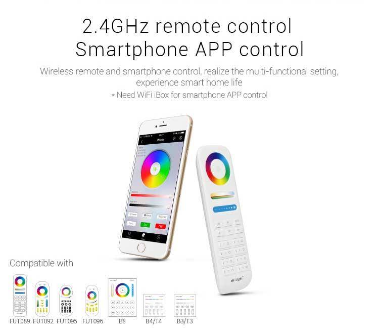 Mi-Light 9W RGB+CCT square LED downlight FUT064 2.4GHz remote control smartphone app control
