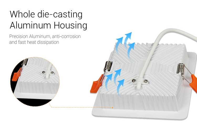 Mi-Light 9W RGB+CCT square LED downlight FUT064 aluminium die-cast housing