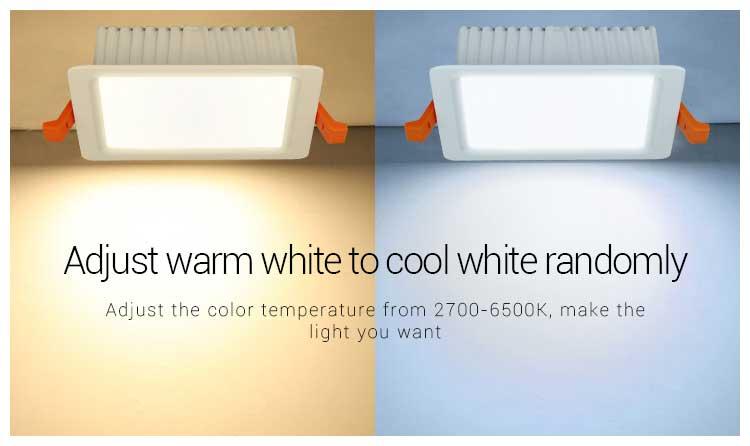 Mi-Light 9W RGB+CCT square LED downlight FUT064 adjust warm to cold white randomly