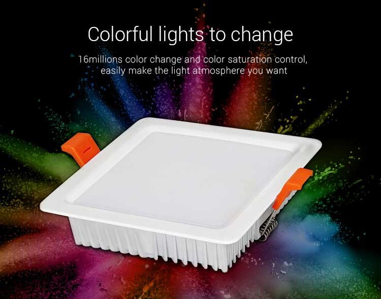 Mi-Light 9W RGB+CCT square LED downlight FUT064 16 million colours