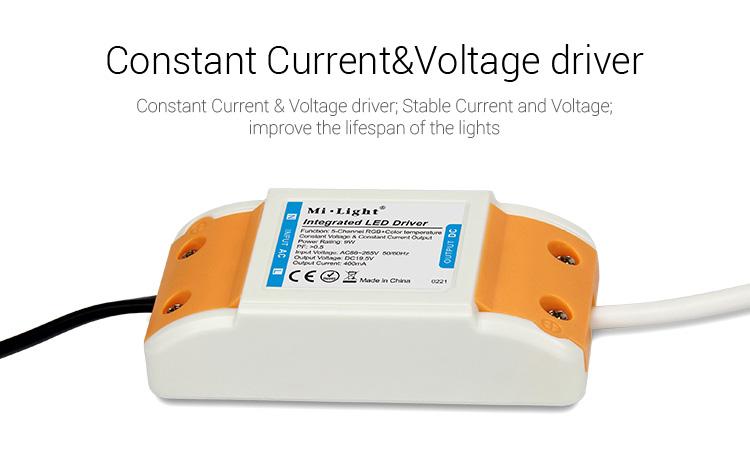 Mi-Light 9W RGB+CCT square LED downlight FUT064 constant current & voltage power supply LED driver