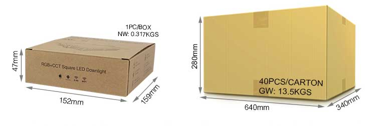 wholesale and retail packaging Mi-Light 9W RGB+CCT square LED downlight FUT064 product size weight inside the box