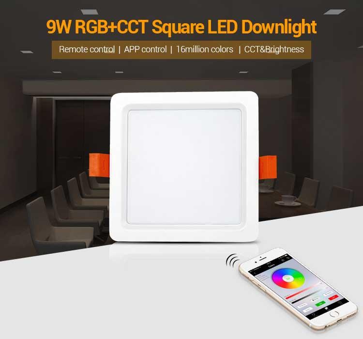 Mi-Light 9W RGB+CCT square LED downlight FUT064 remote control app control wifi lamp