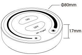 Mi-Light touch dimming remote controller FUT087 product size technical picture dimensions