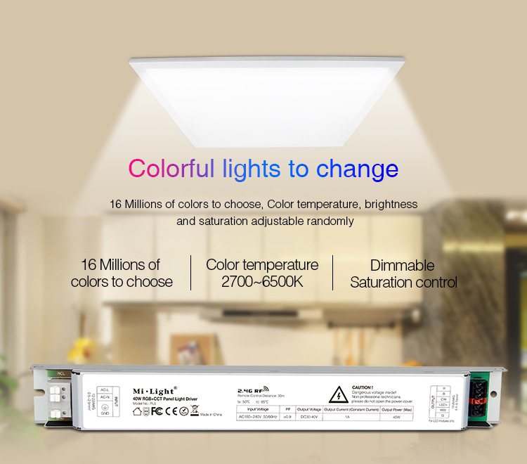 Mi-Light 40W RGB+CCT panel light driver PL5 -  colourful light remote controlled