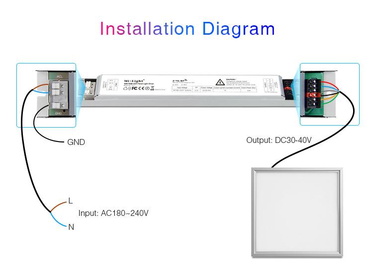 Mi-Light 40W RGB+CCT panel light driver PL5 - installation diagram