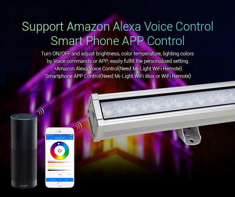 Mi-Light 48W RGB+CCT LED wall washer light RL2-48 support Amazon Alexa Voice Control smart phone app control