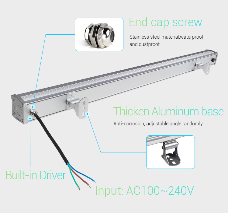 Mi-Light 48W RGB+CCT LED wall washer light RL2-48 end cap screw stainless steel aluminium base outdoor