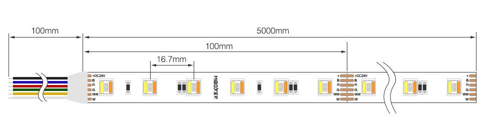 MiBoxer rgbcct LED strip product size