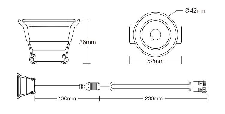 MiBoxer 3W RGB LED spotlight SL3-12 product size