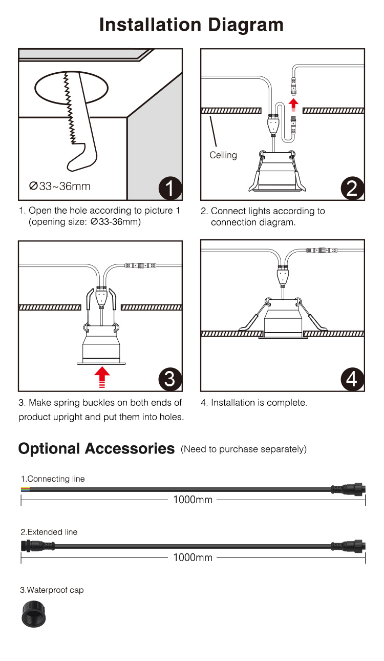easy installation LED spotlight recessed mounting clips