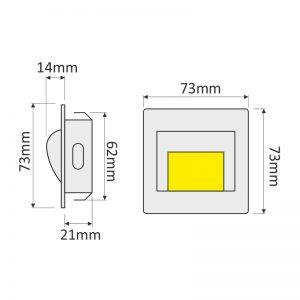 LED wall step light dimensions