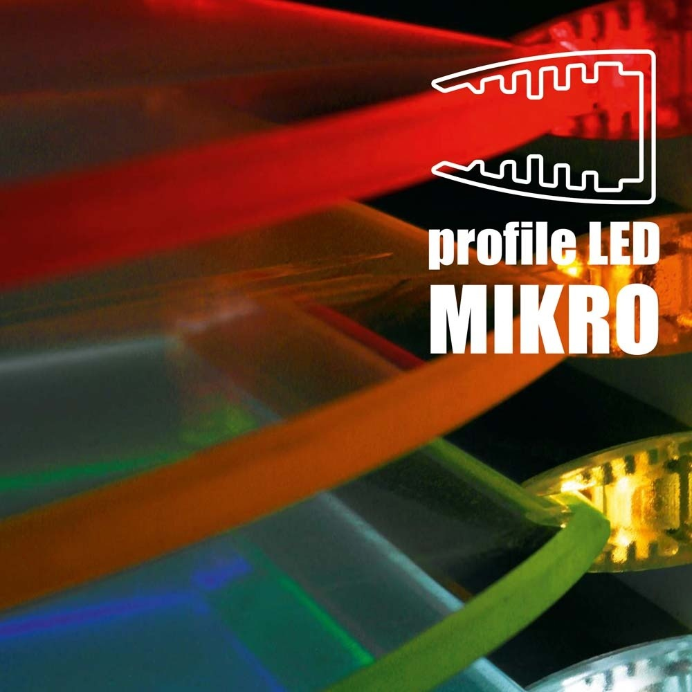 TOPMET anodised aluminium glass LED profile MIKRO10 silver multicolour application