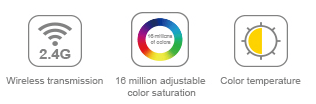 16 million colours adjustable colour saturation colour temperature wireless transmission MiLight Mi.Light Mi-Light