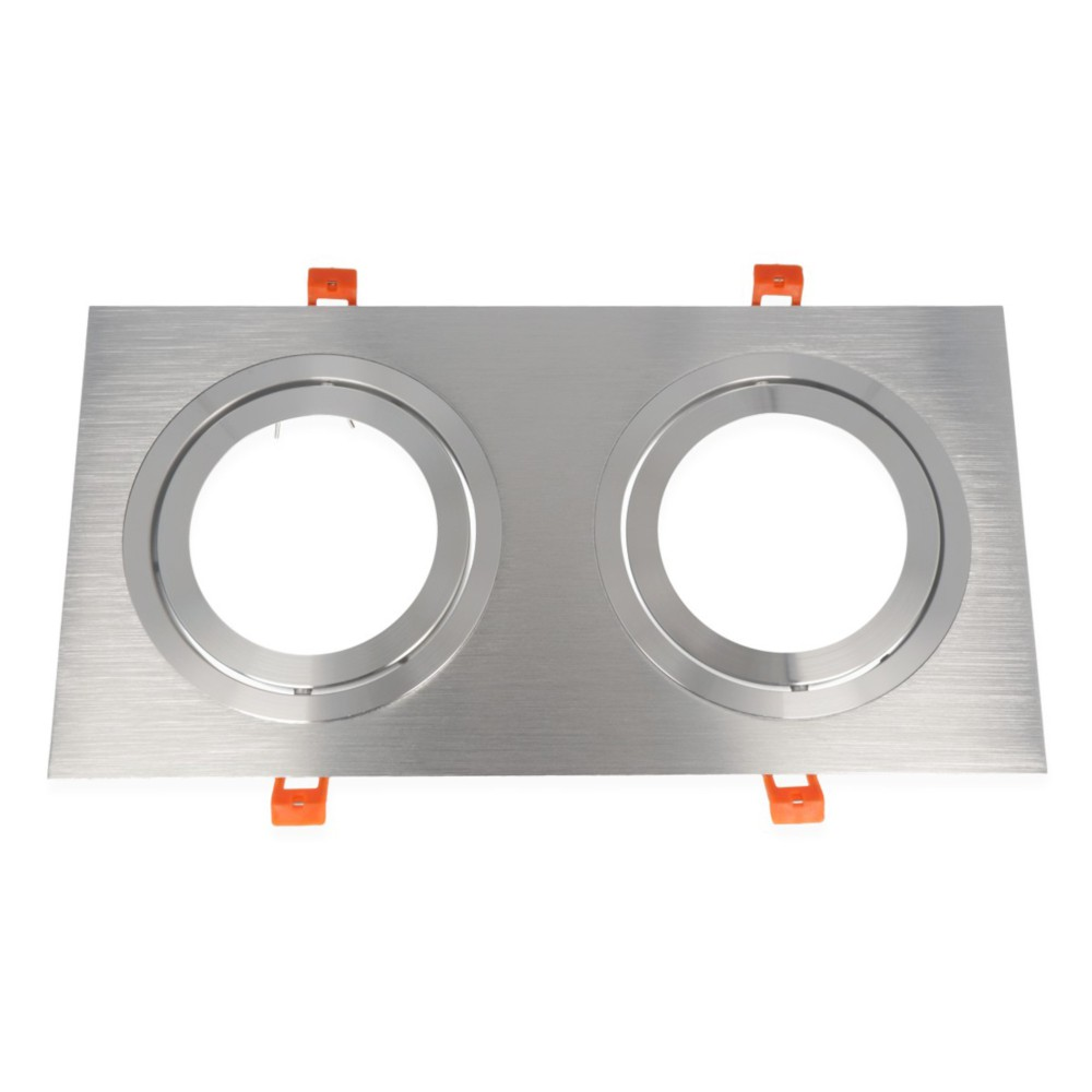 LED line® AR111 square adjustable ceiling double downlight silver. Ideal for lighting flats (suspended ceilings, lightin